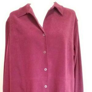 Nice burgundy faux suede button down shirt.